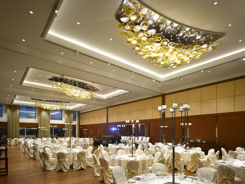 contemporary chandelier / crystal / blown glass