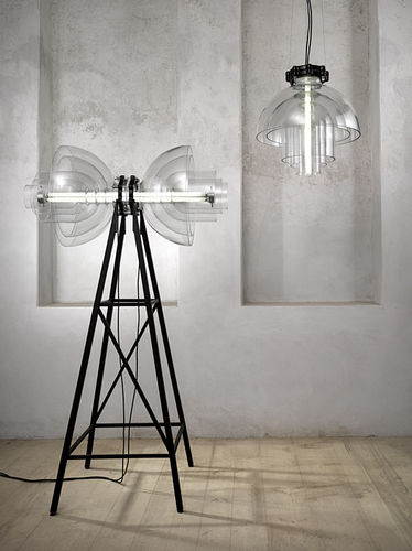 floor-standing lamp / contemporary / glass / tripod