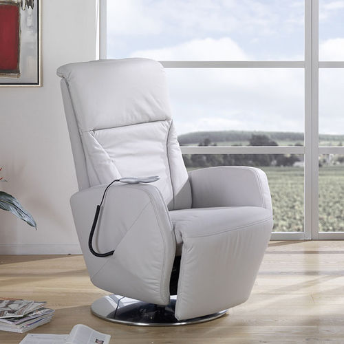 contemporary recliner / leather / high-back / electric