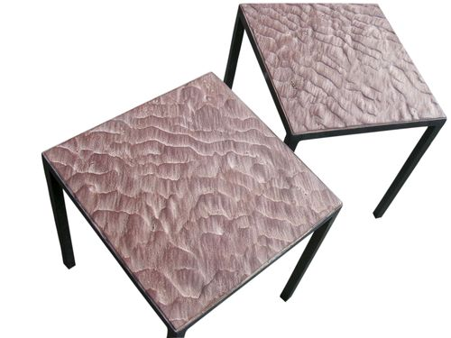 minimalist design side table / engineered stone / patinated metal / rectangular