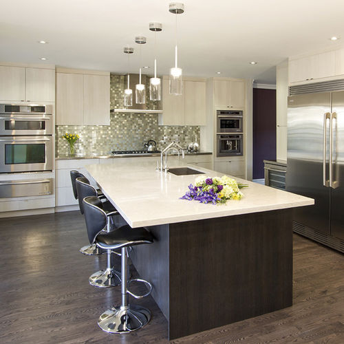 contemporary kitchen / melamine / island / L-shaped
