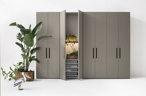 contemporary wardrobe / matte lacquered wood / melamine / with sliding door