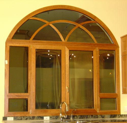 casement window / pivoting / aluminum / curved