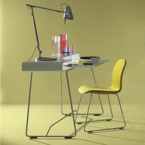 lacquered wood desk / plywood / stainless steel / contemporary