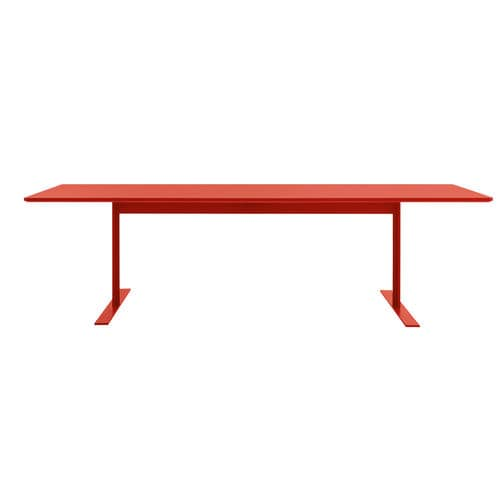 contemporary dining table / lacquered MDF / lacquered metal / rectangular
