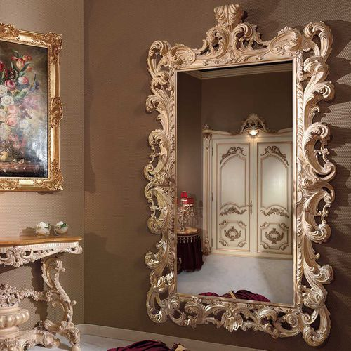 wall-mounted mirror / Baroque style / rectangular / lacquered wood