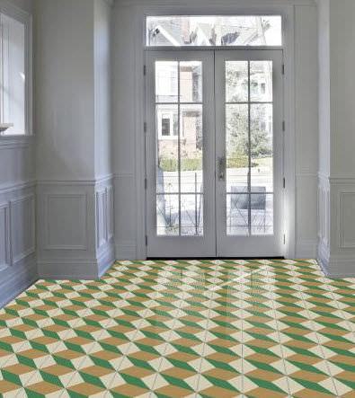 indoor tile / floor / cement / Victorian pattern
