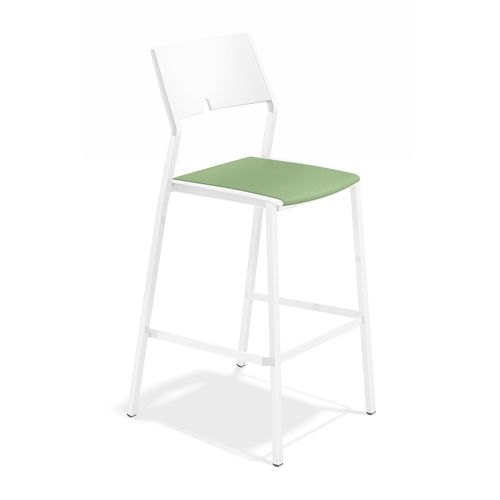 contemporary bar stool / plastic / commercial / upholstered