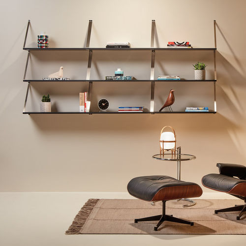 Wall Mounted Shelf Adelaida Made Design Barcelona Contemporary Lacquered Wood Stainless Steel