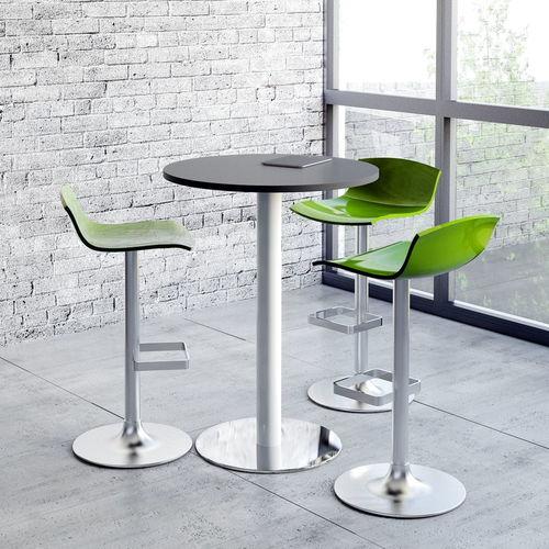 contemporary high bar table / chromed metal / powder-coated steel / melamine
