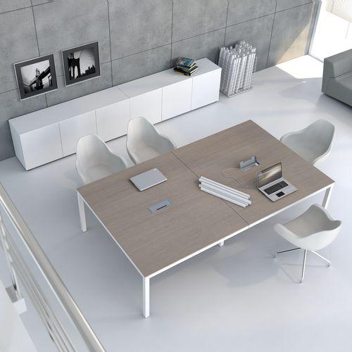 contemporary boardroom table / oak / chestnut / aluminum