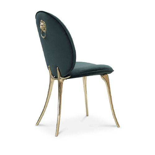 contemporary chair / upholstered / fabric / polished brass