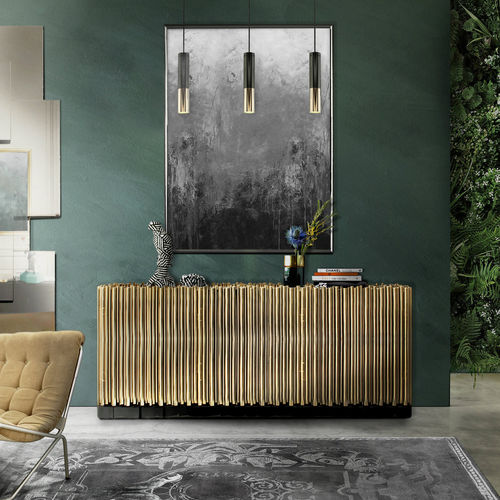 contemporary sideboard / wooden / polished brass