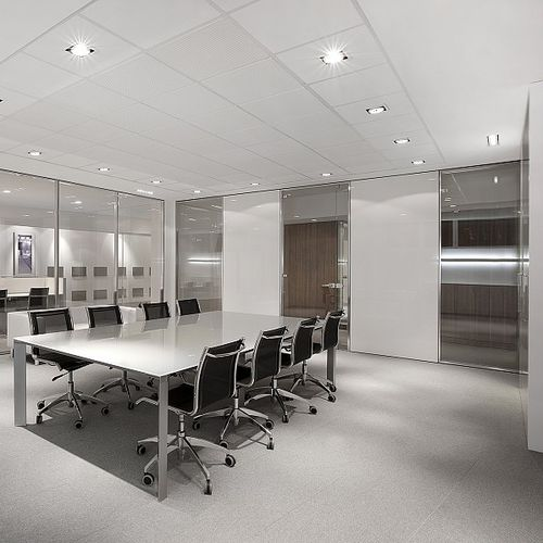 removable partition / modular / glazed / for offices