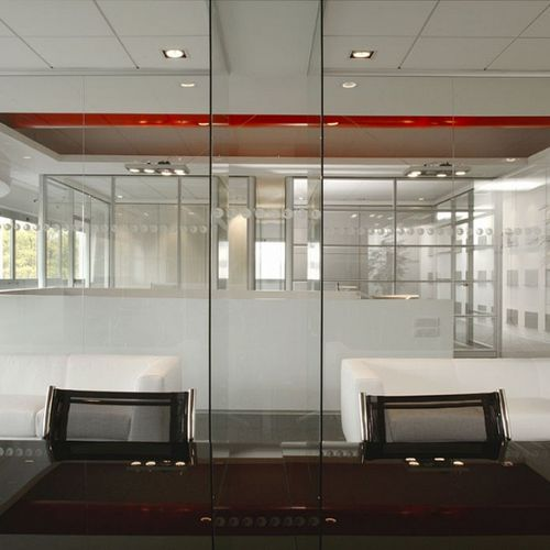 removable partition / sliding / glazed / for offices