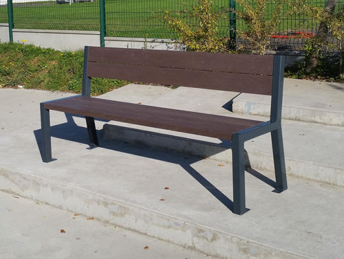 public bench / contemporary / recycled plastic / with backrest