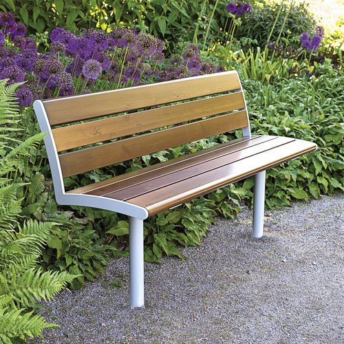 public bench / garden / contemporary / wooden
