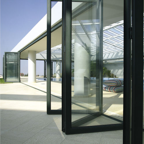 sliding and stacking patio door / aluminum / double-glazed / thermally-insulated