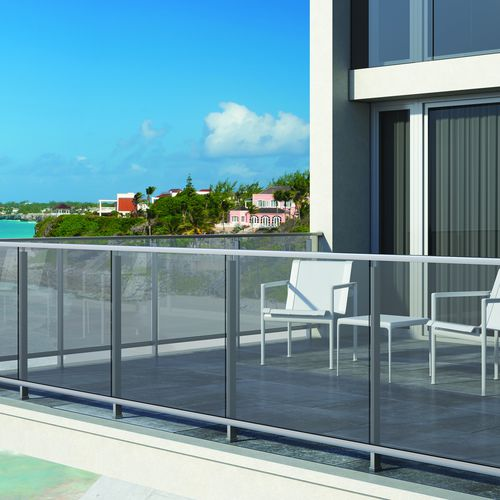 aluminum railing / with bars / outdoor / for balconies
