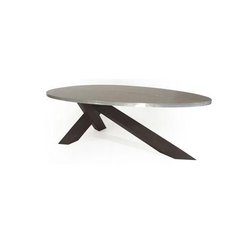 contemporary dining table / oak / zinc