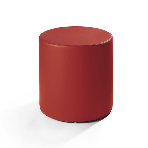 contemporary pouf / fabric / leather / round