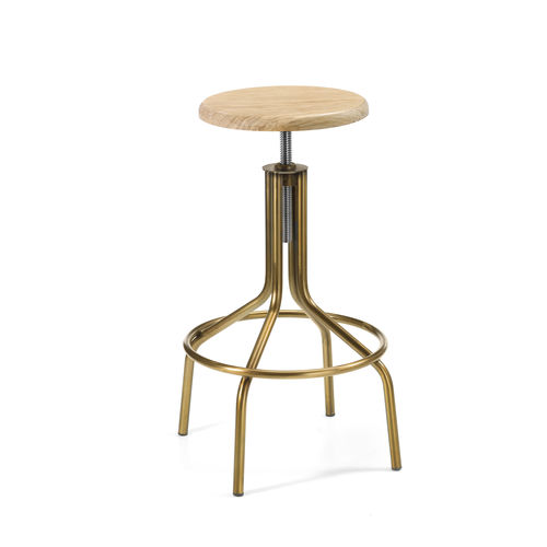 contemporary bar stool / leather / painted steel / natural oak