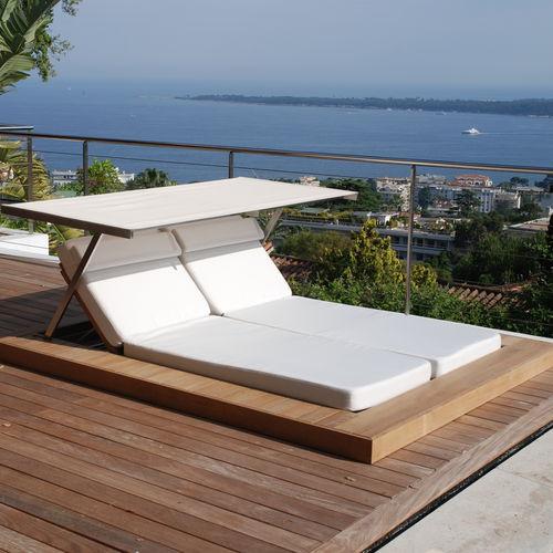 contemporary sun lounger / teak / stainless steel / garden