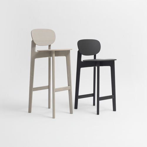contemporary bar chair / upholstered / oak / solid wood