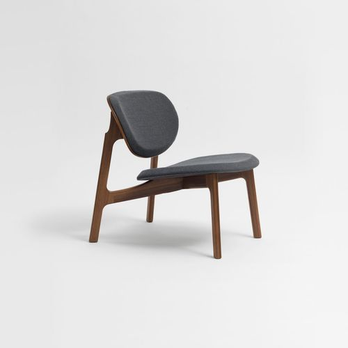 contemporary fireside chair / fabric / solid wood / walnut