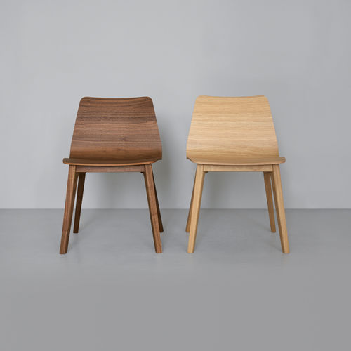 contemporary chair / upholstered / solid wood