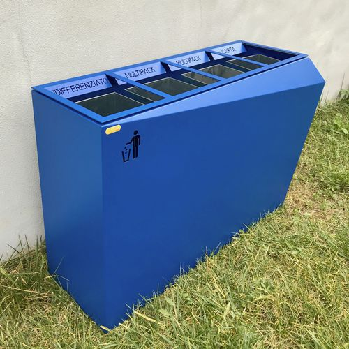 public trash can / galvanized steel / painted steel / contemporary