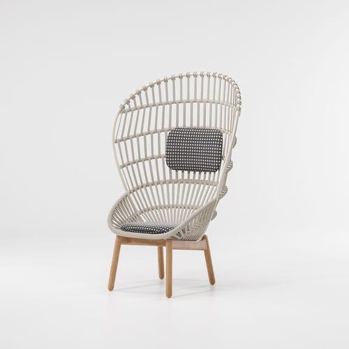 contemporary armchair / teak / aluminum / rope