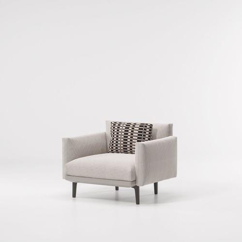 contemporary armchair / fabric / steel / aluminum
