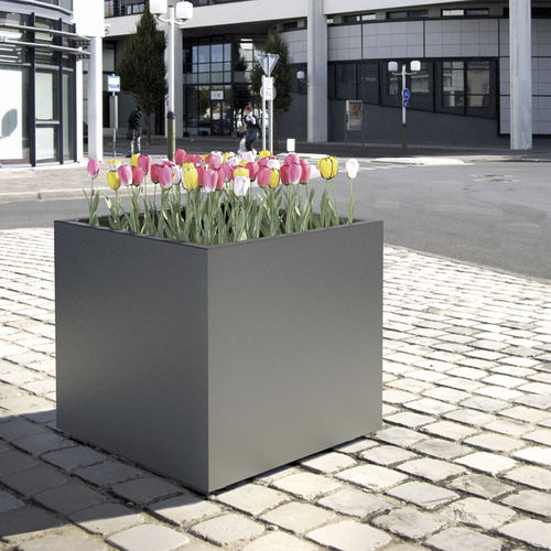 galvanized steel planter / polyethylene / square / contemporary