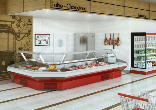 refrigerated display counter / illuminated / for shops