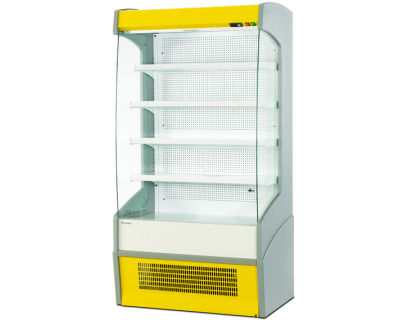 upright refrigerated display case / illuminated / for shops