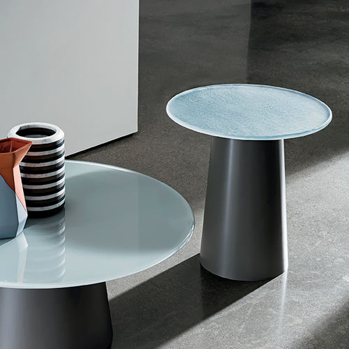 contemporary side table / wooden / tempered glass / stainless steel