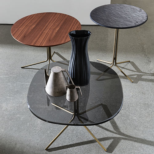 contemporary side table / wooden / glass / metal