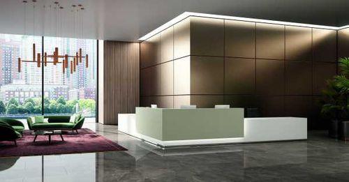 modular reception desk / corner / glass / melamine