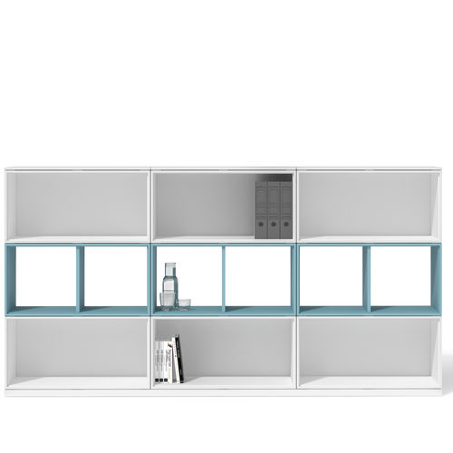 low filing cabinet / melamine / with drawers / contemporary