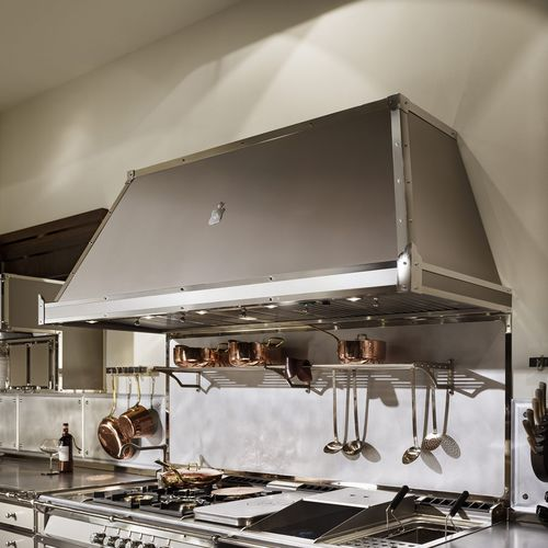 wall-mounted range hood / with built-in lighting / commercial