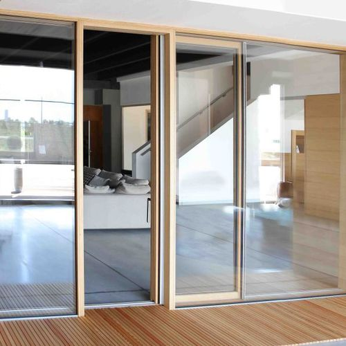 sliding French door / wooden / double-glazed