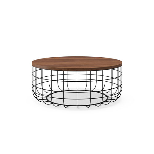 contemporary coffee table / American walnut / natural oak / wire