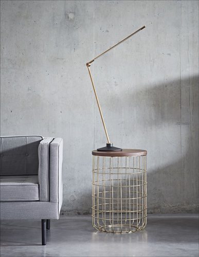 contemporary side table / American walnut / natural oak / wire