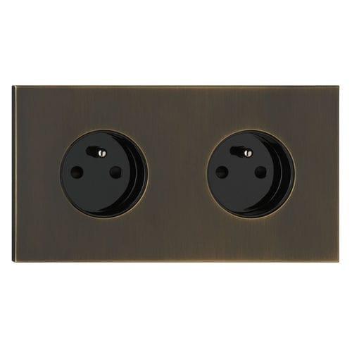 power socket / double / wall-mounted / brass
