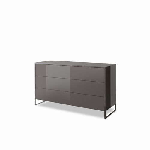contemporary chest of drawers / wood veneer / leather / stainless steel