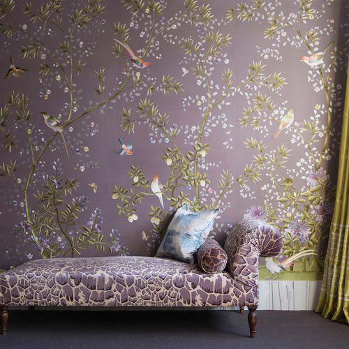 traditional wallpaper / silk / chinoiserie / handmade