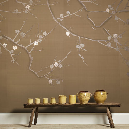 contemporary wallpaper / silk / chinoiserie / handmade
