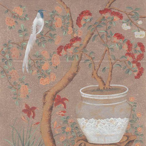 traditional wallpaper / nature pattern / scenic / handmade