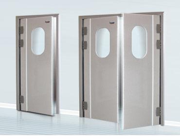 swing industrial door / polyethylene / impact-resistant / semi-glazed